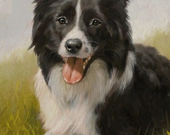 Aceo Dog Print, Border Collie. From an Original Painting by Award Winning Artist JOHN SILVER. Personally signed. BC003AC