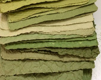 Handmade paper - Avocado/Shades of Green - Homemade Paper - recycled paper - textured - Paper for collage - Pick The Amount - acid free