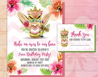 Luau Invitation - Luau Birthday Invitation - Luau Party - Luau Flyer - Luau Watercolor - Tiki - Tropical - Birthday Party Invite - DIGITAL