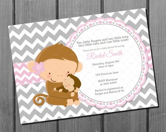 Baby Shower Girl Monkey Invitations ~ Blue and brown monkey boy baby shower invitation and free