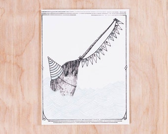 Happy Birthday Narwhal Notecard