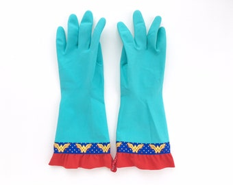 Superhero Latex Spring Cleaning Gloves. Size Medium or Large. Wonderful Woman Dishwashing Gloves. Super Mom Mother's Day Gift Under 30.