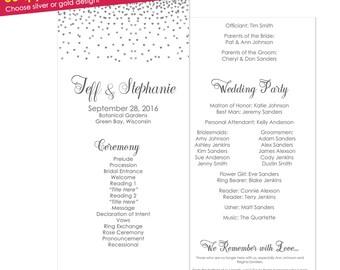 50qty Silver Wedding Programs- Silver Wedding Ceremony Programs- Silver Programs- Silver Wedding- Order of Service- Wedding Program Template