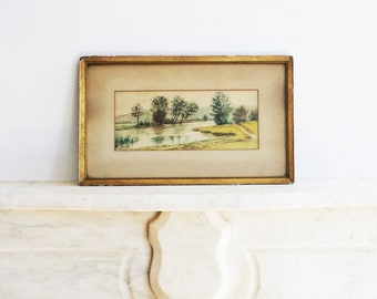 Antique Original Water Color Painting, Framed Landscape, Water, Signed E L Snyder, 1910
