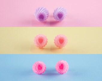 Faux Pastel Hard Candy Swirl Stud Earrings
