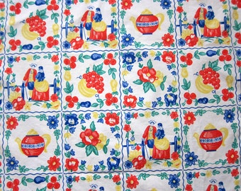 Vintage Colonial Fabric, Half Yard+ of Mid Century Colonial Americana Print Cotton Fabric with Teapot, Fruit, Couple, Flowers, Kitchen Decor