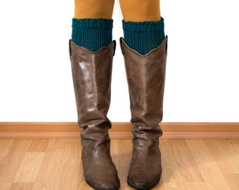 Boot Cuffs // Knitted Boot Cuffs // Boot Toppers // Chunky Merino Wool // Bottle Green