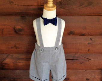 Boys grey shorts with cuffs and tie boys suspender shorts, ring bearer shorts, available to order 12 mo, 18 mo, 2t, 3t, 4t, 5t ,6