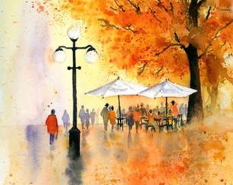 Cafe in the Park watercolour step by step painting project