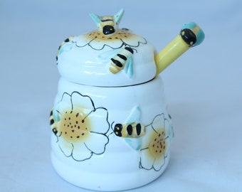 """Ceramic Honey Jar and Dipper, 5"""" Tall - Vintage, Mint Condition!"""