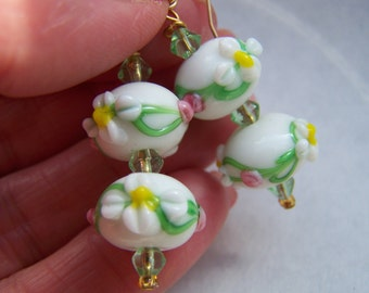 White Green Pink Floral Lampwork Glass Dangle Earrings Doodaba