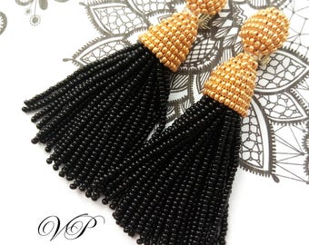 Luxurious Handmade Beaded Black and Gold Tassel Clip on Earrings in the style of Oscar de la Renta, approx 3.5 inch. Custom colors available