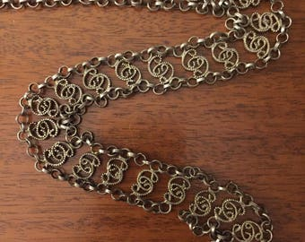 Ornate Silver Filigree Vintage Belt Adjustable to over 35 Inches Long Handcrafted Must See Needs a Little TLC