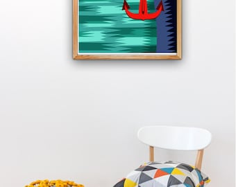 Old Ship anchor aweigh - Vintage style A3 plus sized Poster Wall Art - Nautic Poster - Pop style original design NTC011A3P