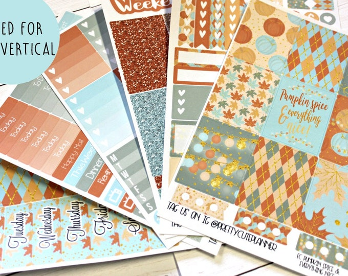 Fall Planner Stickers - Fits Erin Condren Vertical - Pumpkin Spice Planner Stickers - Ala Carte Weekly Stickers - Fall Planner Sticker