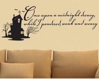 Edgar Allan Poe Quote Vinyl Wall Decal, The Raven, Haunted House with Bats, Fall Halloween Decor