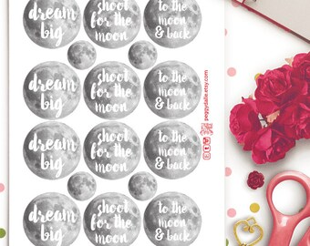 Moon Planner Stickers | Erin Condren | Kikki K | Filofax| Quotes | Motivational | Inspiration | Dream |