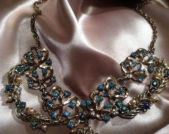 Upcycled vintage blue elegant necklace