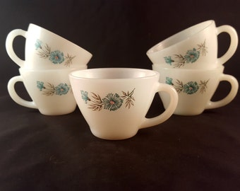 Flowered Fire King Mugs - Set of 5