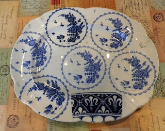 A 1920s Blue and White Transfer ware test firing plate kiln sample pattern test Meat Plate or Serving Plate 1