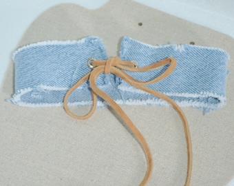 Choker Denim & Leather, Jean Choker, Blue Jean Choker, Denim Choker with Leather Tie