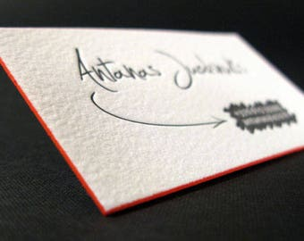 100 Thick Cotton Paper Letterpress Business Cards with Painted Edges