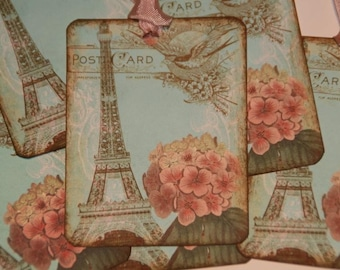 I LOVE PARIS French Post Card Hang Gift Tag