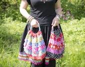 fabric ruffle handbag, ha...