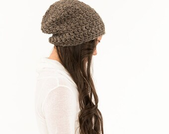 Chunky Knit Super Slouchy Hat Wool Beanie, Ribbed Knitted Slouch Toque, Textured Women Warm Crocheted Handmade Winter Accessory / BARLEY