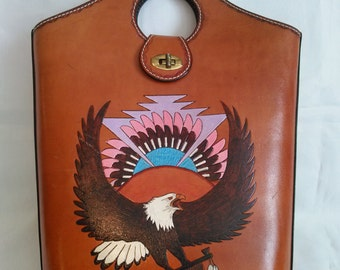 tote leather hand tooled bag purse Native American handpainted