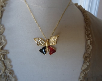 """Vintage Gold Tone Rhinestone and Enamel Butterfly Pendant/Brooch on 18"""" Gold Tone Chain"""
