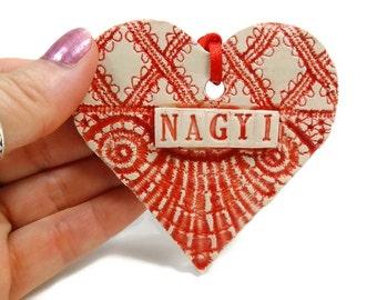 Nagyi Heart Ornament, Hungarian Grandmother Gift, Nagyi Birthday, Mother's Day Gift, Magyarország, Grandparent Gift, Nagymama Gift
