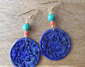 Lapis Dragon Earrings, Lapis  Earrings, Carved Dragon Lapis Lazuli, Carved Turquoise Bead, Coral Bead Gold-plated Sterling Silver Earrings