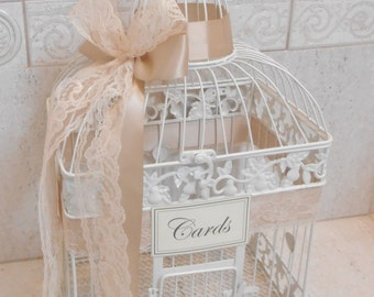 Ivory and Lace Wedding Card Box | Wedding Birdcage | Wedding Card Holder | Birdcage Card Holder | Beach Wedding