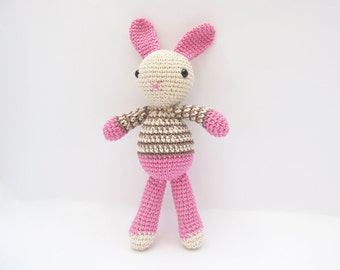 Easter Bunny Toy, Amigurumi Rabbit Plushie, Crochet Pink Bunny, Easter Gift for Kids