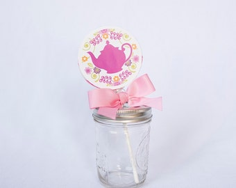 Tea Party Whirly Pop. Party Favor. Lollipop. Pink. Strawberry Flavored. Birthday