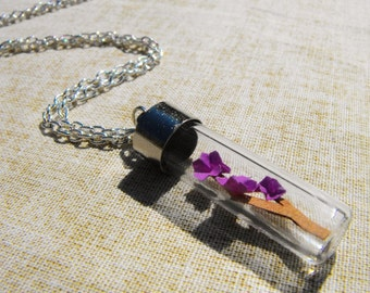 Origami Japanese Cherry Blossom in a Bottle Necklace