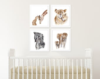 Animal Prints, Safari Nursery Art, Set of 4, African Animals, Nursery Prints, Animal Art, Mom and Baby, Lion, Giraffe, Elephant, Zebra