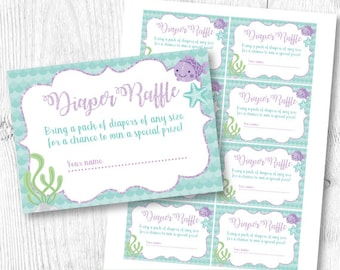 Mermaid Diaper Raffle Ticket, Diaper Raffle Insert, Baby Shower Diaper Raffle, INSTANT DOWNLOAD