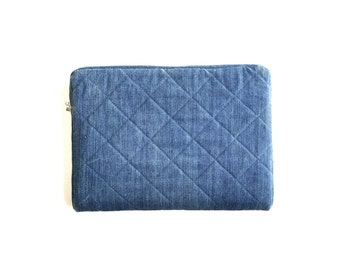 "Quilted Denim Laptop Sleeve - 13"" MacBook - Handmade from Salvaged Jeans"