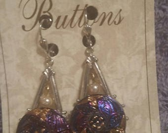 VICTORIAN BUTTON EARRINGS HandPainted  F lowers on Silver Plated Ornamental Stamping pearl drop