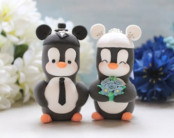 Mouse ears hats Penguins cake toppers wedding - Mouse inspired cartoon characters black white cornflower blue cute funny