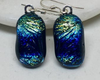 Earrings – Blue and Gold Dichroic Fused Glass Earrings
