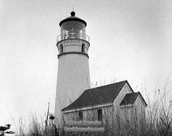 Michigan Beach Lighthouse, Fine Art Photography, Black & White, Free Shipping, Frank Brueske