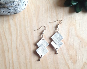 Leather - geometric earrings in White Leather earrings