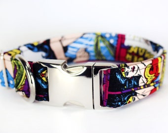 "Wonder Woman comic book dog collar - ""WonderDog"""