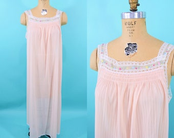 RESERVED// 1980s nightgown | long pink smocked night gown | vintage 50s nightgown