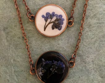 Forget-Me-Not Necklace, Alzheimer's Awareness Pendant Outlander Round Necklace, Caregiver Jewelry necklace flower necklace outlander pendant
