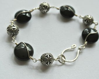 Obsidian Gemstone Bali Sterling Silver Link Bracelet