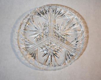 Vintage Crystal Appetizer Plate Dish